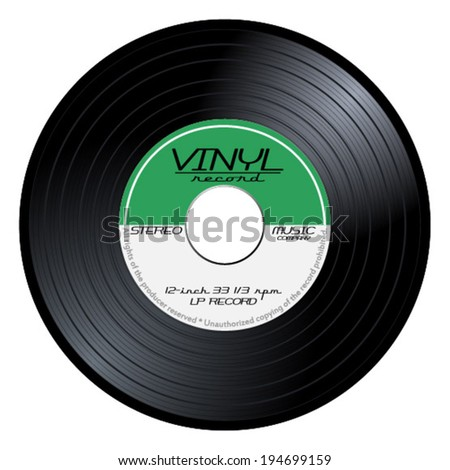 Old, retro green vinyl record, LP, eps10 vector art image illustration. isolated on white background - stock vector