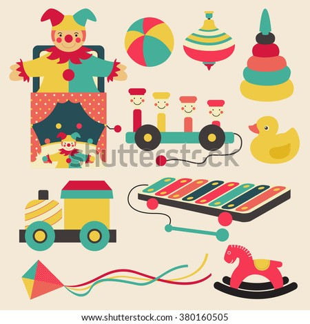 Old retro kid toys and circus carnivals object flat icon design in pastel color style, create by vector - stock vector