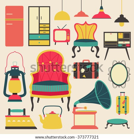 Old retro media communication technology and house appliance furniture and kitchen tool  flat icon design, create by vector - stock vector