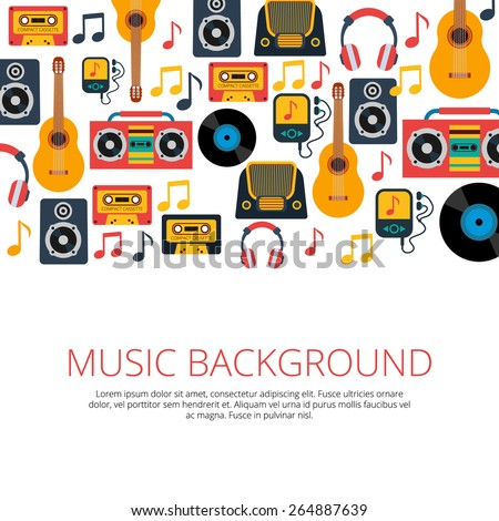 Old retro music vinyl records cd cassette players and notes symbols seamless background banner abstract vector illustration - stock vector