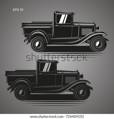 Old retro pickup truck vector illustration. Vintage transport vehicle. Antique pre-war machine.