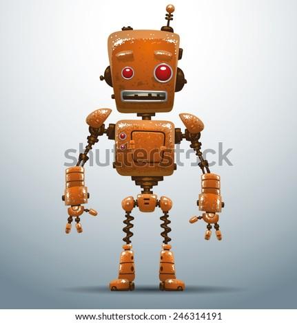 Old retro robot, vector - stock vector