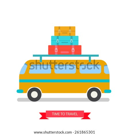 Old  retro van with suitcases, traveling symbol  isolated on white background, vector illustration - stock vector