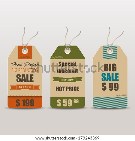 Old retro vintage tag cards for sale - stock vector