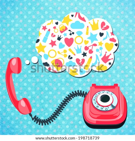 Old retro wire telephone with chat speech bubble communication concept  vector illustration. - stock vector
