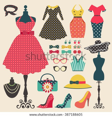 Old retro woman fashion clothes, garment, and accessories flat icon design in vintage pastel color style, create by vector - stock vector
