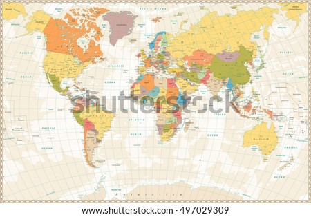 Map stock images royalty free images vectors shutterstock old retro world map with lakes and rivers highly detailed vector illustration of large political publicscrutiny Image collections
