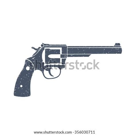Old revolver, handgun, cowboy's gun isolated over white, vector illustration - stock vector