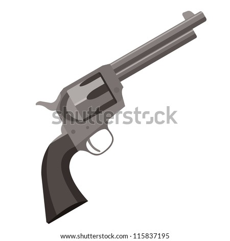 old revolver pistol - stock vector