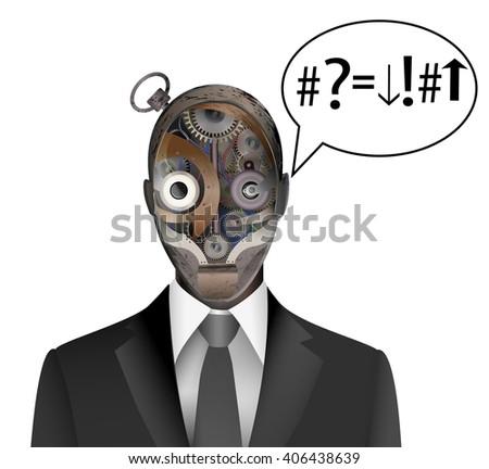 old robot can`t  understand the task, robot understanding concept, vector,  - stock vector