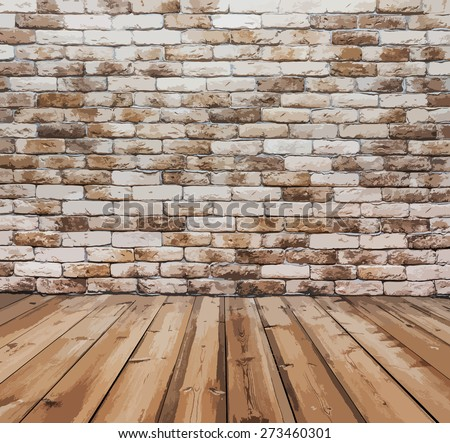 old room with brick wall, vector - stock vector