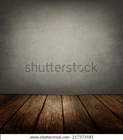 Old Room With  Cement Wall And Wooden Floor - stock vector