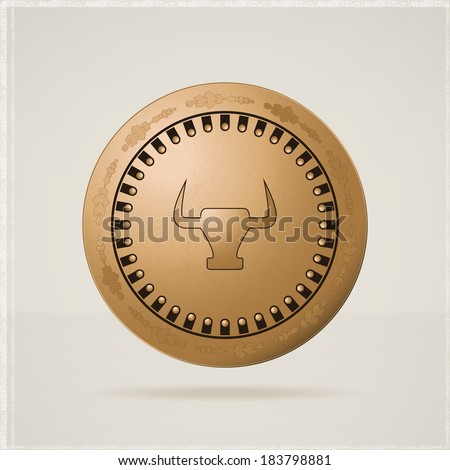 Old round metal medieval shield. Vector illustration - stock vector
