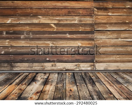old rural wooden interior, vector