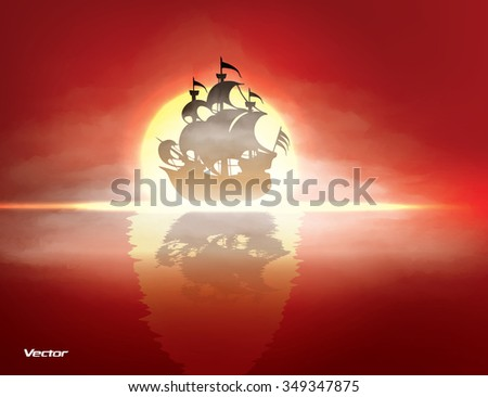 Old sail ship floating on calm ocean in front of sunset. Vector illustration - stock vector