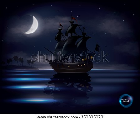 Old sail ship floating on calm ocean with half moon and stars in background, fantasy vector - stock vector