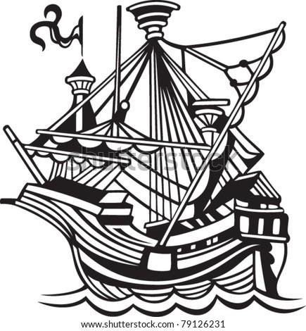 old sail spanish ship - stock vector
