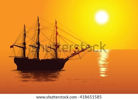 Old sailing ship - stock vector