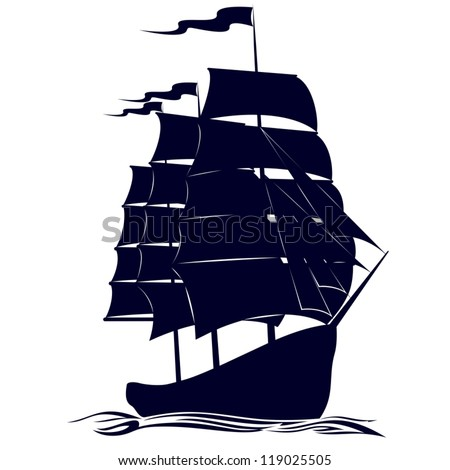 Old sailing ship. Illustration on white background. - stock vector