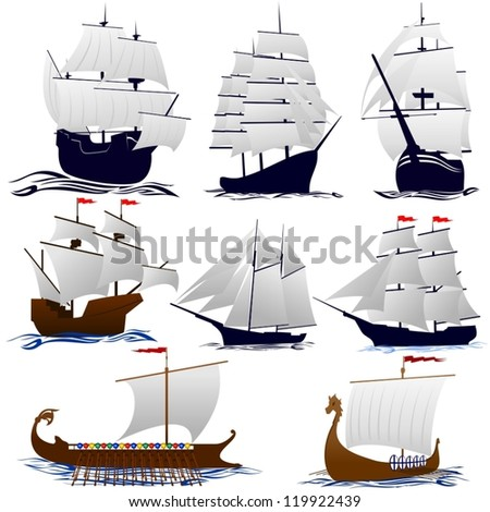 Old sailing ships. Illustration on white background. - stock vector