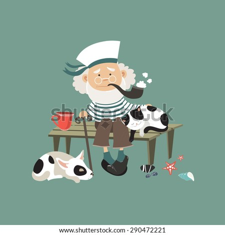 Old sailor sitting on bench with cat and dog. Vector illustration - stock vector