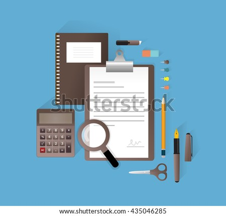 Old school accessories for business.Vector illustration, Isolated objects. - stock vector