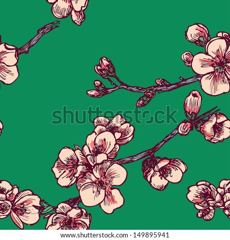 Old school blooming tree seamless pattern in vector - stock vector