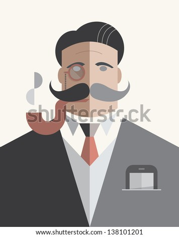 Old school businessman with monocle and smoking pipe with mobile phone in the pocket isolated on white. Vector illustration