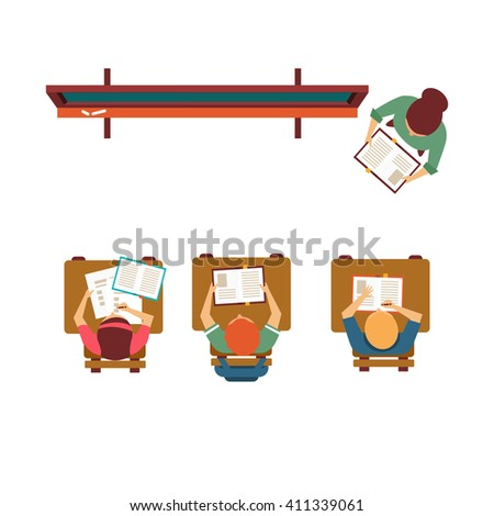 Old-School Class With Blackboard From Above Flat Primitive Style Design Vector Illustration On White Background - stock vector