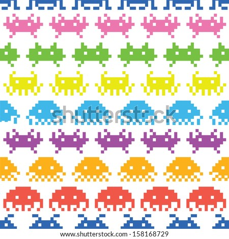 Old school game seamless vector pattern - stock vector