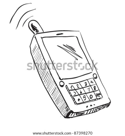 Old school mobile phone icon. Hand drawing cartoon sketch illustration in childish doodle style - stock vector