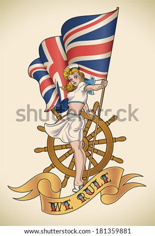 Old-school navy tattoo of a pin-up lady with the Union Jack in her hand. Editable vector illustration. - stock vector