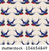 old school pattern with birds - stock