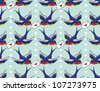 old school pattern with birds and letters - stock