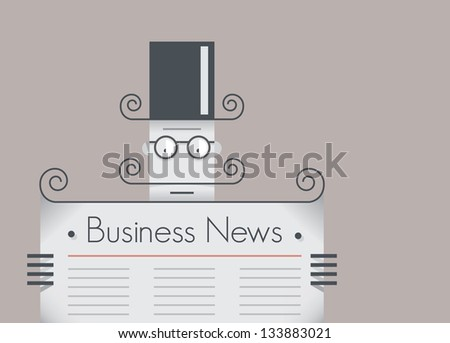 Old school retro businessman with mustache reading business news newspaper. Vintage style illustration. With copy space for your business text. - stock vector