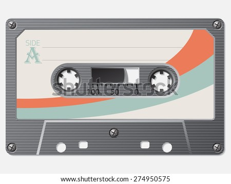 Old school retro cassette with faded label - stock vector