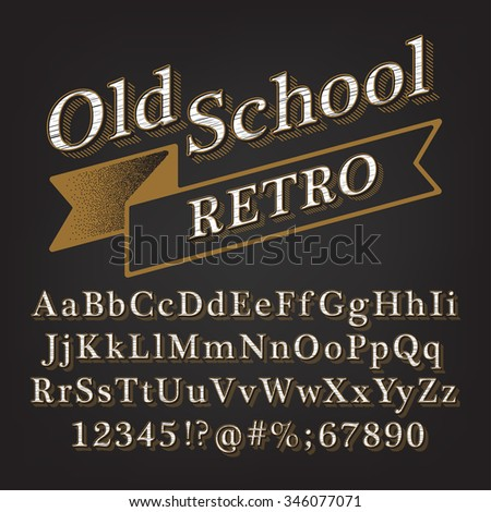Old school Retro Vintage Style Alphabet with Lined Shadow. Type letters, numbers and punctuation marks. Vintage design vector font. - stock vector