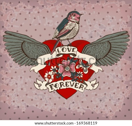 Old-school style tattoo heart with flowers and bird, vintage Valentine illustration for Holiday design, vector - stock vector