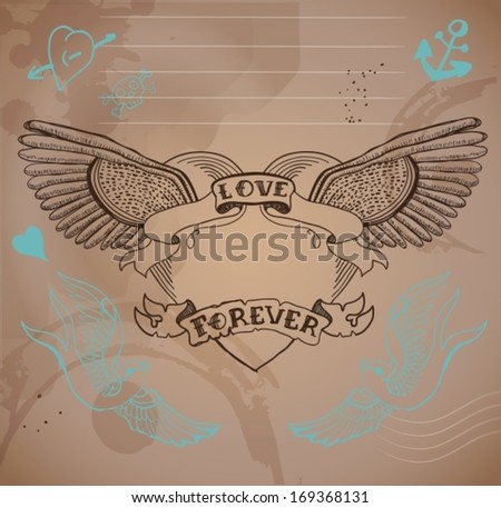 Old-school style tattoo heart with flowers, Valentine illustration for Holiday design, vector - stock vector