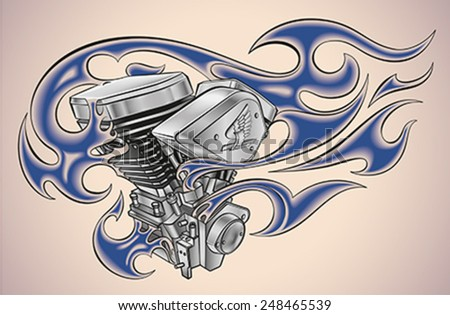 Old-school styled tattoo of a flaming motorcycle engine. Editable vector illustration. - stock vector