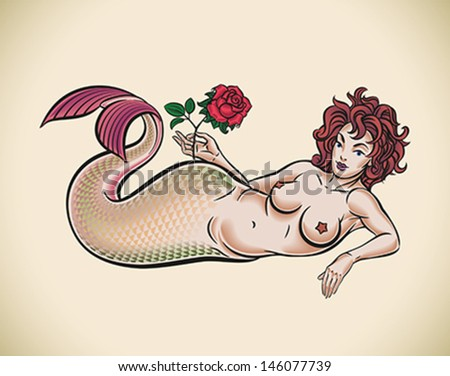 Old-school styled tattoo of a red hair mermaid with a red rose. Editable vector illustration. - stock vector