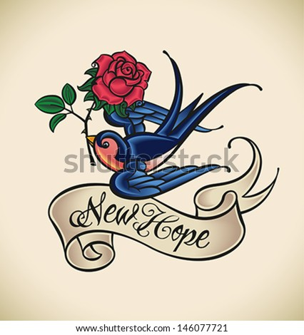 Old-school styled tattoo of a swallow with banner and rose. Editable vector illustration. - stock vector