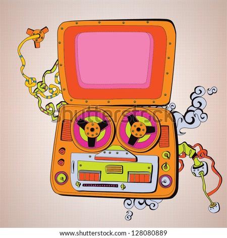 Old school tape recorder - stock vector