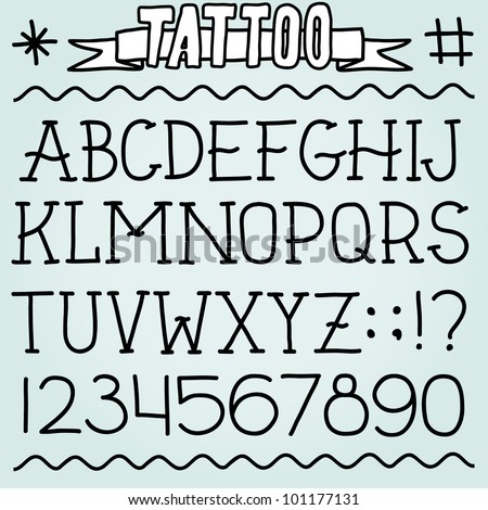 Old school tattoo alphabet and numbers set