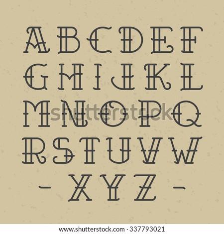 Old school tattoo alphabet. Vector. - stock vector