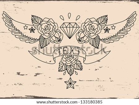 Old School Tattoo black. Vector illustration. - stock vector