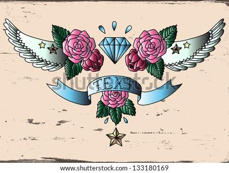 Old School Tattoo color. Vector illustration. - stock vector