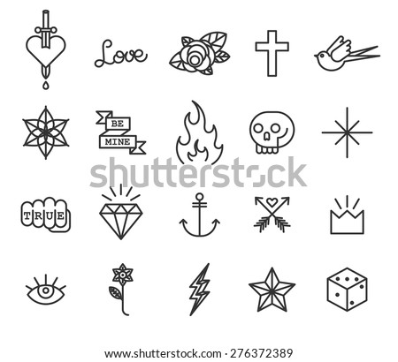 Old school tattoo icon set - stock vector