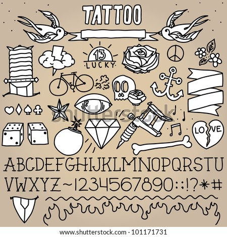 Old school tattoo objects monochrome vector pack