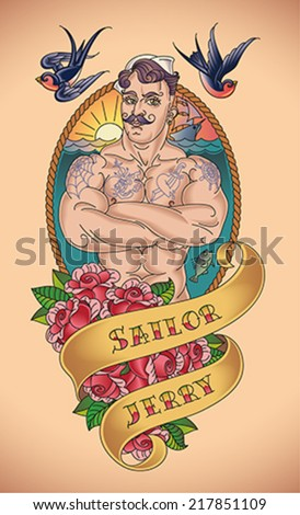 Old-school tattoo of a handsome sailor with a frame of rope and bunch of red roses wrapped in a banner. Editable vector illustration.